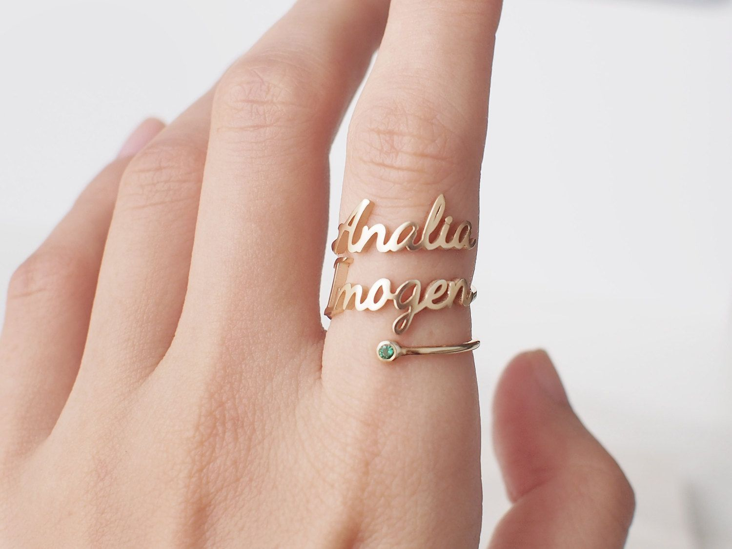 c1a92dba1 Double Name Ring with Birthstone Custom Name by GracePersonalized ...