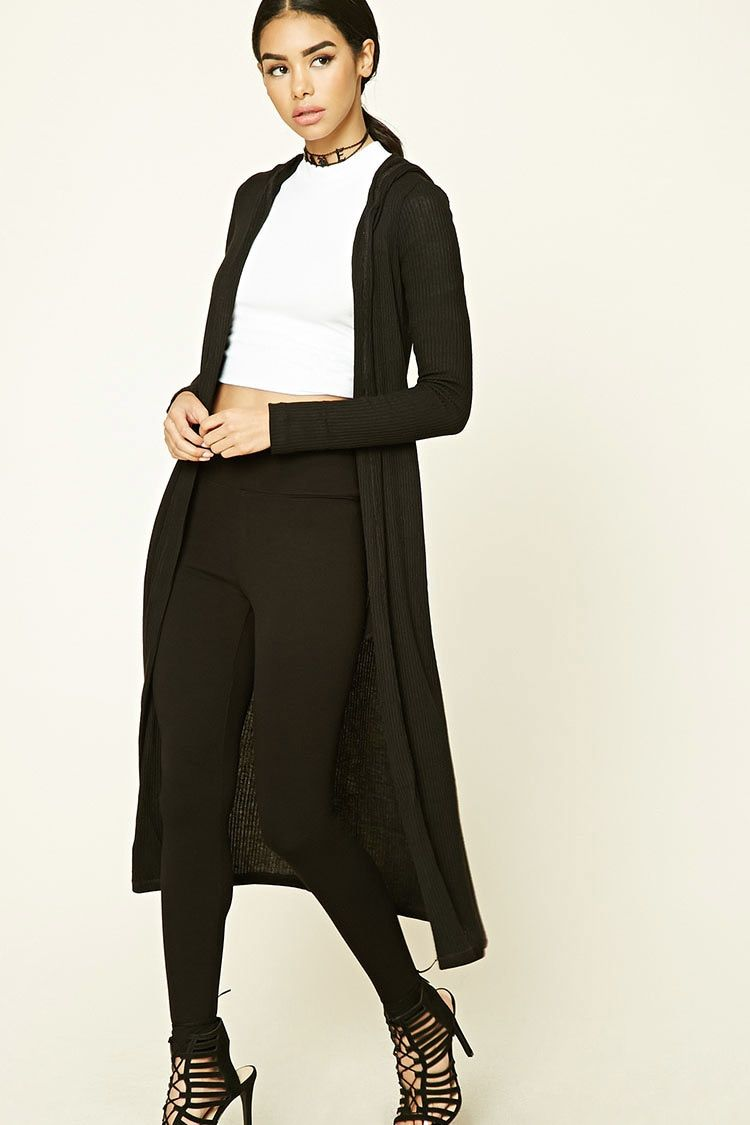 Black, size small A ribbed knit cardigan featuring a duster length ...