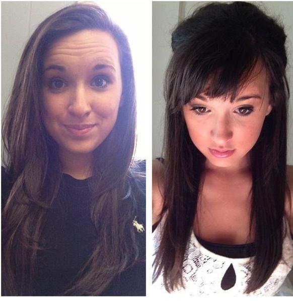 Before And After Layered Bangs Long Hair Styles Long Hair With Bangs Hair Beauty