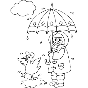 Duck And Girl In Rain Girl In Rain Coloring Pages Printable Coloring Pages