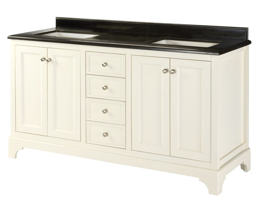 60 inch double sink vanity granite top - Ferngate Field 60 Inch W Double Vanity In White With Granite Top In Black