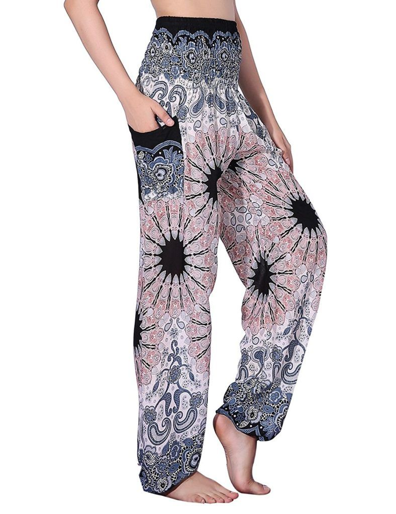 e58ab1c65be7a CHRLEISURE Women s Loose Harem Pants Boho Peacock Print High Waisted Yoga  Pants