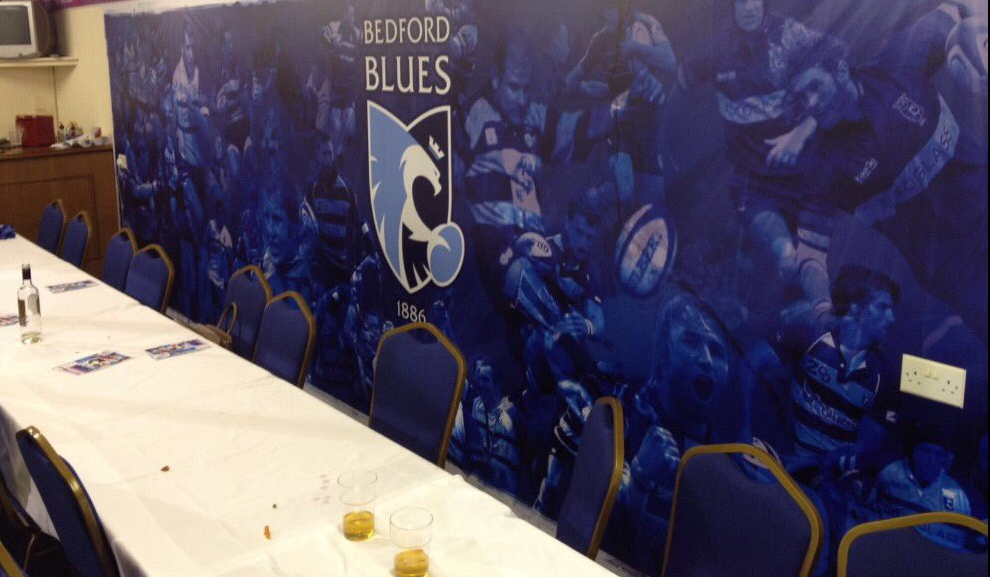 A visit to our local rugby club, The Bedford Blues to see the new Lifesure Suite wall.  Cereated by Dave at Bluegreen.