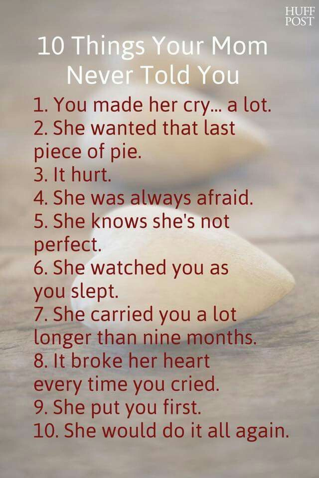 10 Things Your Mom Never Told You Truthfuls Pinterest Mom