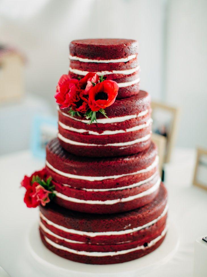 red velvet naked cake | jenny haas photography | wedding cakes, Kuchen