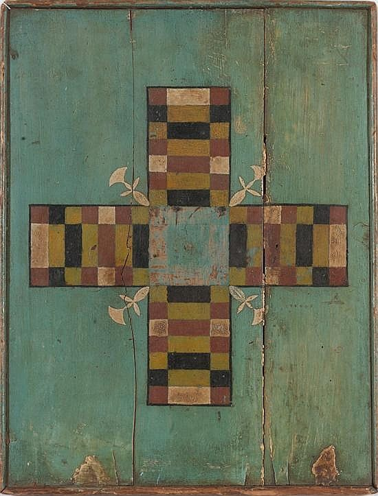 Painted and Decorated Game Board. American, possibly New England, late 19th/ early 20th century