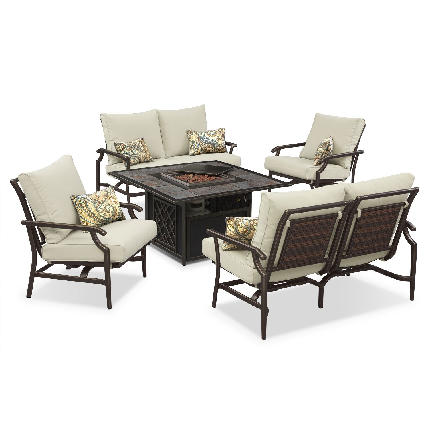 A Complete Firepit Set For Your Patio Can T Get Any Better Than This Outdoor Furniture Hat Beautiful Outdoor Furniture Outdoor Living Room Outdoor Living