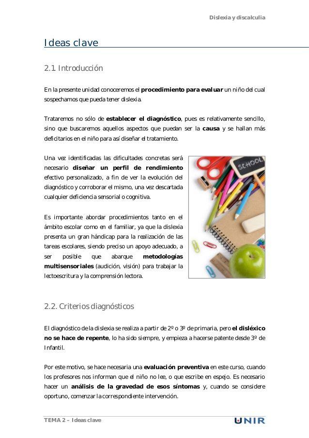 Dislexia y discalculia TEMA 2 – Ideas clave Ideas clave 2.1. Introducción En la…