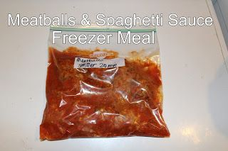 Spaghetti Sauce & Meatballs Freezer Meal