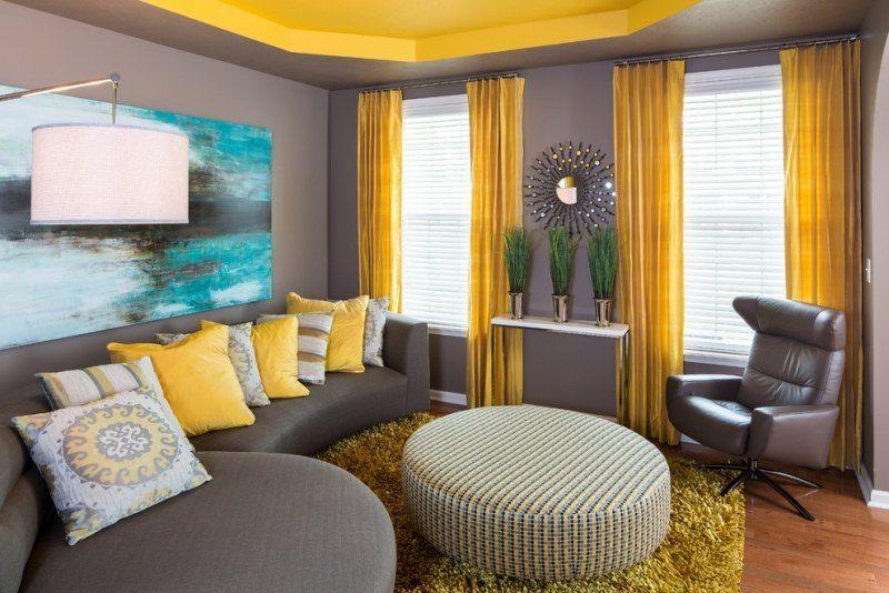 Décoration intérieur invitez le jaune et le gris dans l` espace!