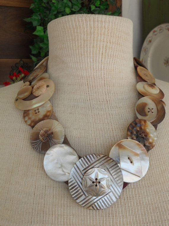 Vintage Mother of Pearl Buttons & Buckles Necklace - OOAK, Unique, Repurpose, Upcycle