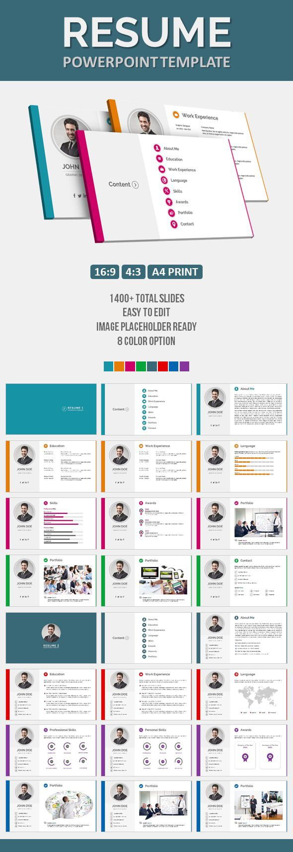 Powerpoint Resume Resume Powerpoint Template  Business Powerpoint Templates Template