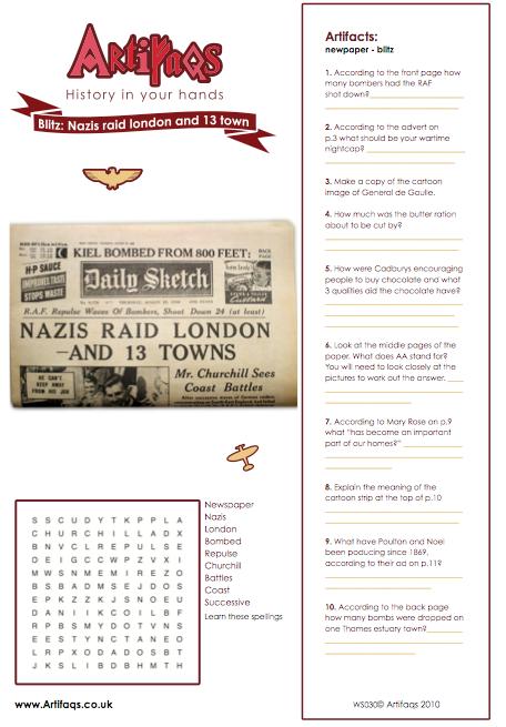 Free worksheet on the Blitz | WW2 | Pinterest | Free worksheets ...