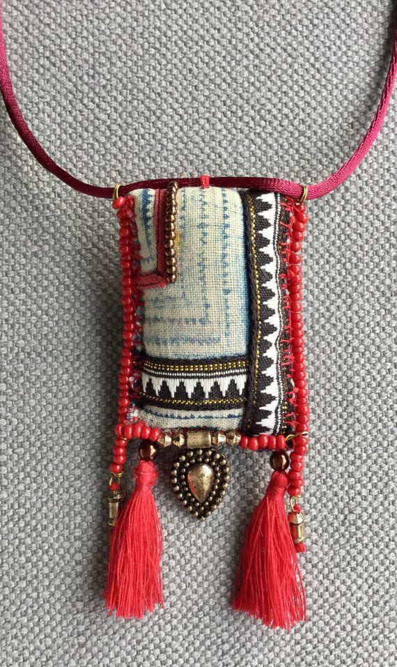 Textile, bohemian, carmine red necklace/pendant and bronze ...