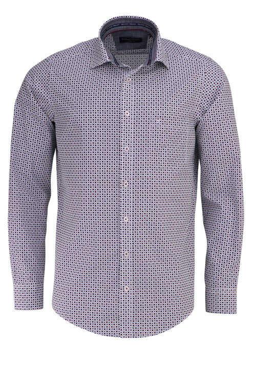 Casamoda Casual Fit Hemd Langarm Haifschkragen Muster Weinrot Hemd Bekleidung Herren Hemden
