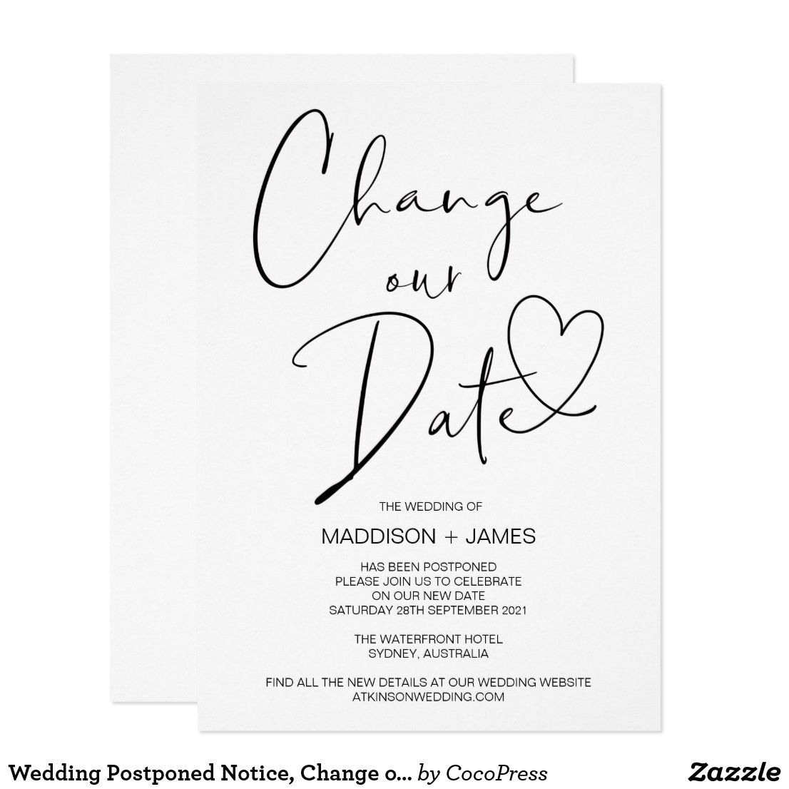 Modern Postponed Wedding Template Download Electronic Evite Calligraphy Cancellation Announcement Change of Plans Templett 16