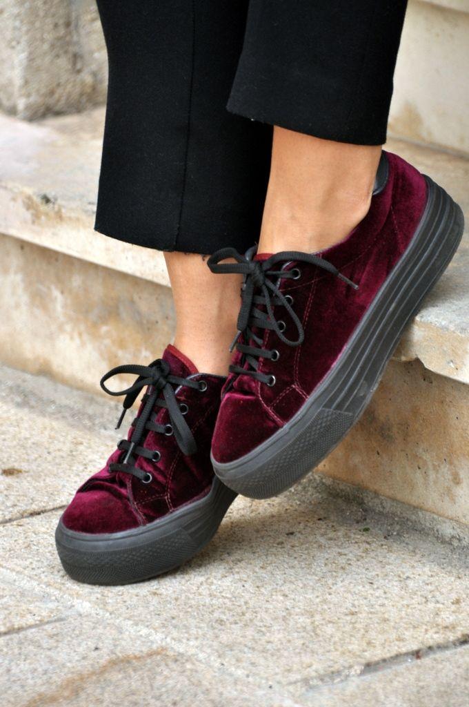 Burgundy velvet platform sneakers from