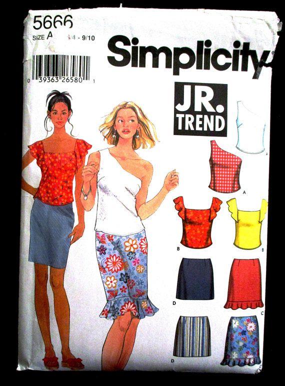 Simplicity 5666 Summer Top Skirt Pattern Size 3 4 5 6 7 8 9 10 ...