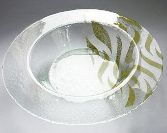 Professional Use Glassware Restaurant Dinnerware & Abstract Modern Glass Designer Pasta Bowl. Wide Board Serving Bowl ...