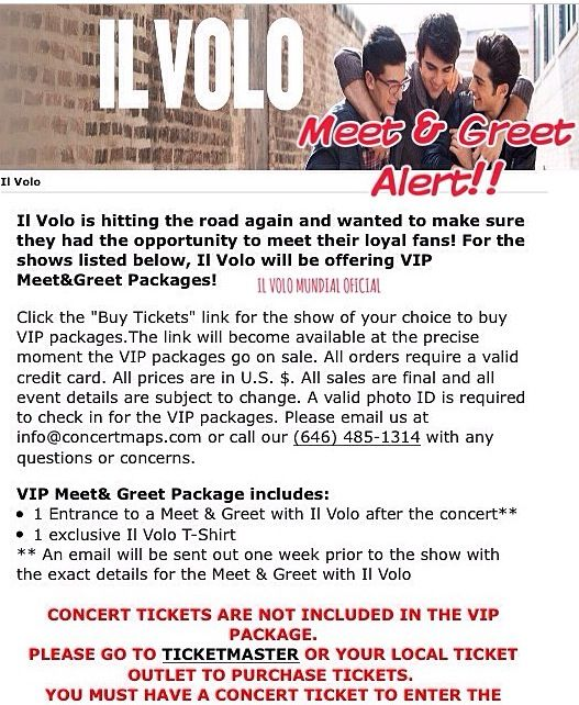 Information on the meet greet at il volo concerts the tickets are discover ideas about concert tickets information on the meet greet m4hsunfo