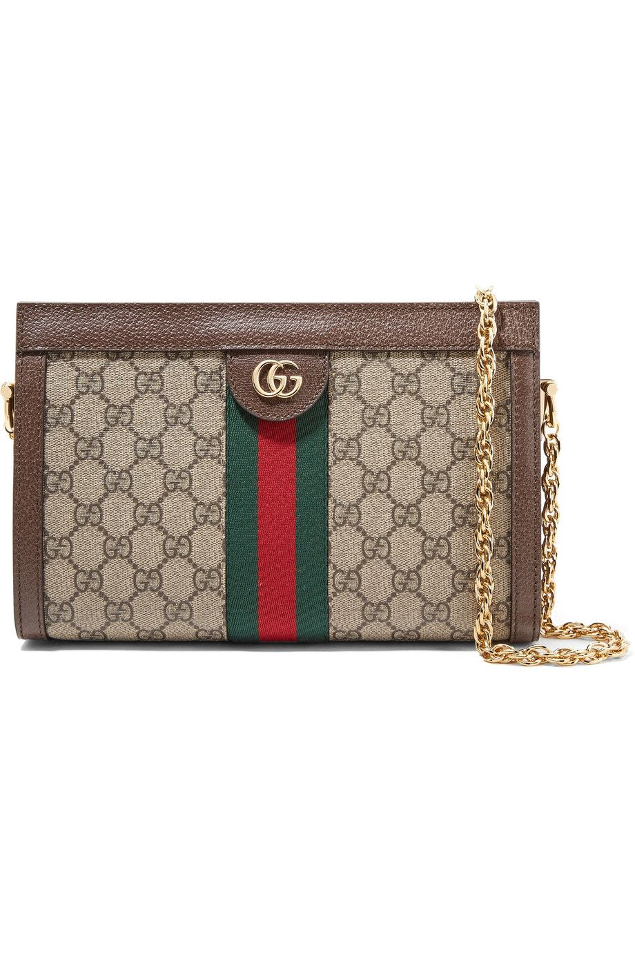 Ophidia Textured Leather-trimmed Printed Coated-canvas Shoulder Bag - Beige Gucci 2QaWD7x