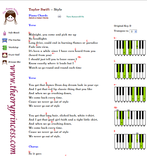 Style By Taylor Swift Lyrics Chords Chord Charts Easy
