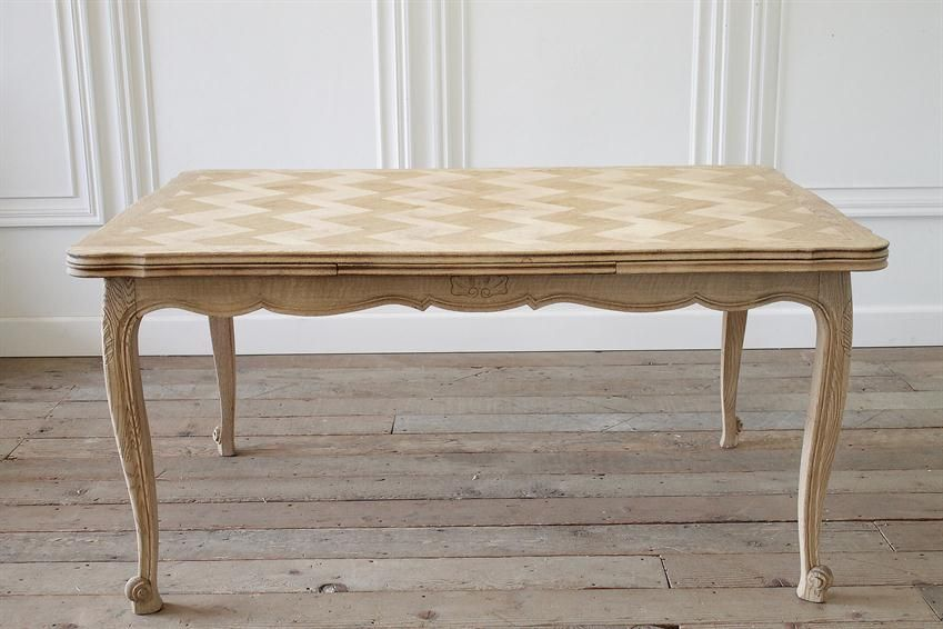 French Oak Draw Leaf Dining Table With Parquetry Top From Full Bloom