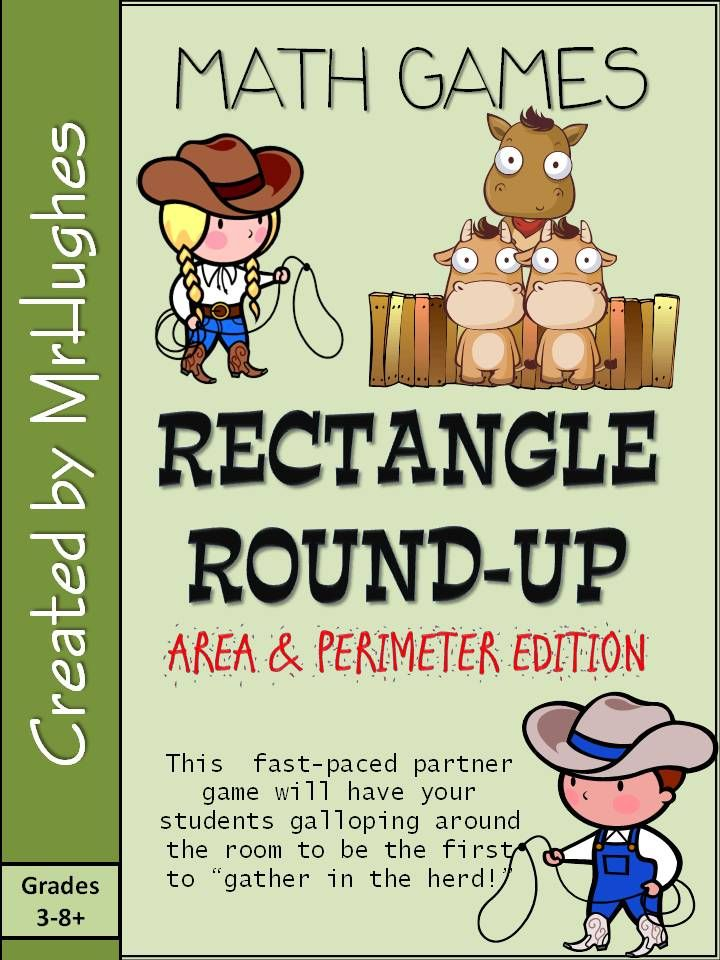 Yee Haw! Your cowfolk will LOVE rounding up the herd in this fast-paced partner game. The objective? To be the first team to correctly find and solve 15 rectangle related problems hidden around the classroom/area. The catch? Students must check EACH answer with you, the teacher, before they can move on. If they get the wrong answer they get to try again. ($)