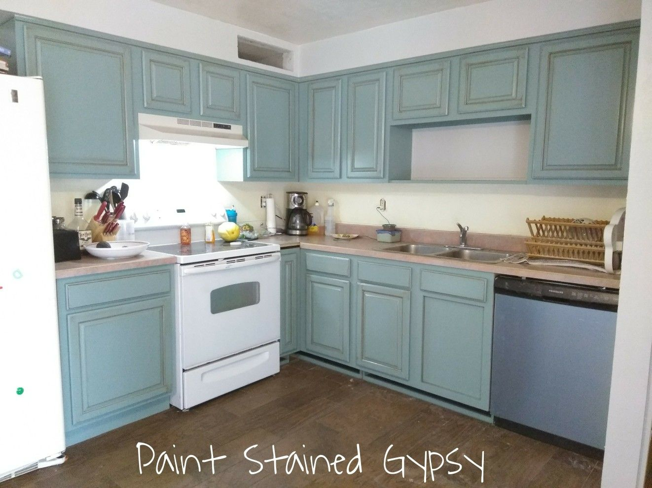 Farmhouse style glazed kitchen cabinets refinished in Eucalyptus ...