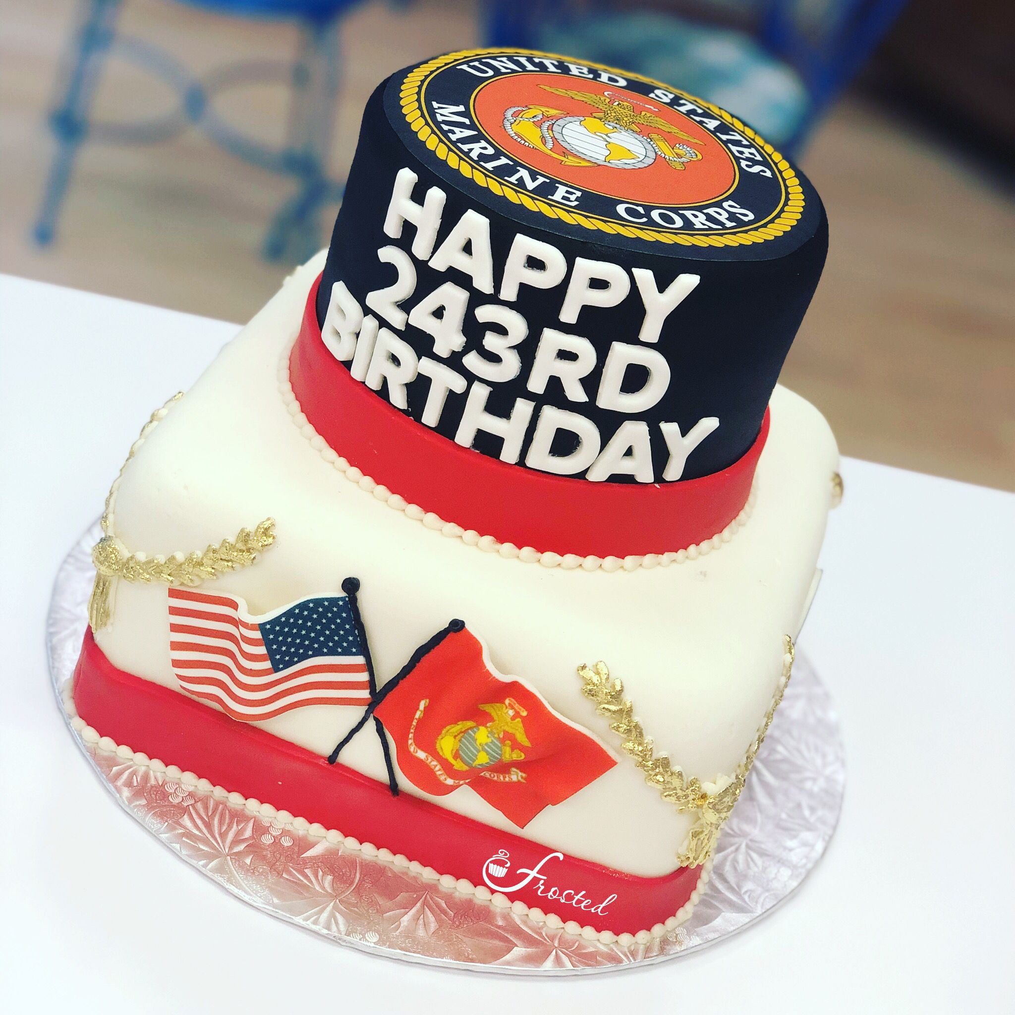 Online Cake Decorating Usmc birthday, Cake toppings