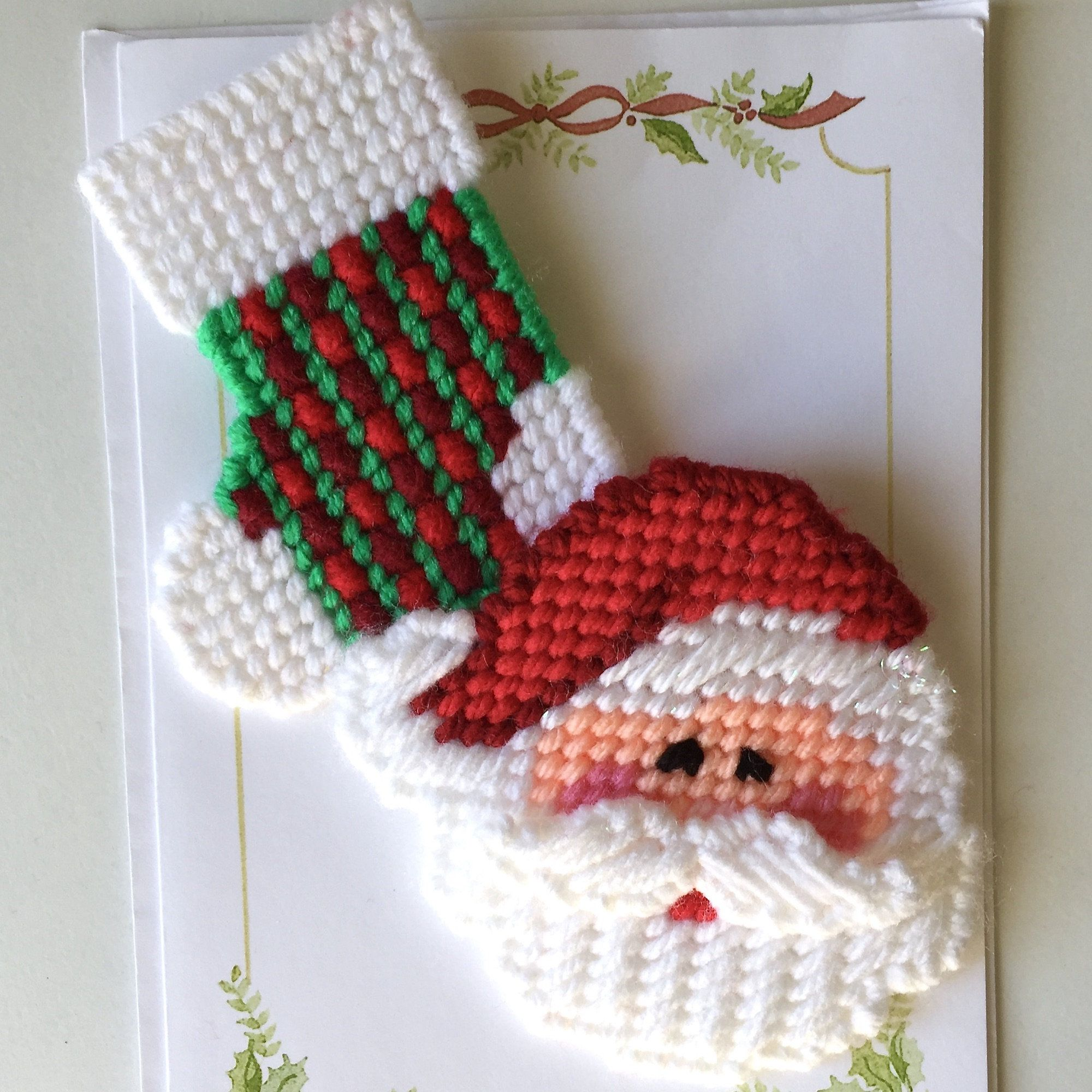 Plastic Canvas Happy Santa And Stocking Christmas Magnets Plastic Canvas Christmas Plastic Canvas Crafts Plastic Canvas