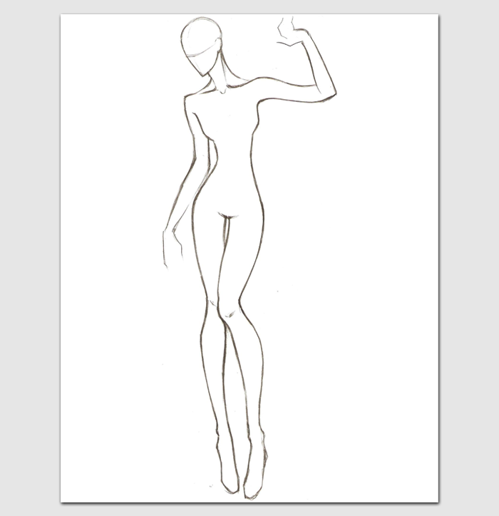 female body template for fashion design outline templates