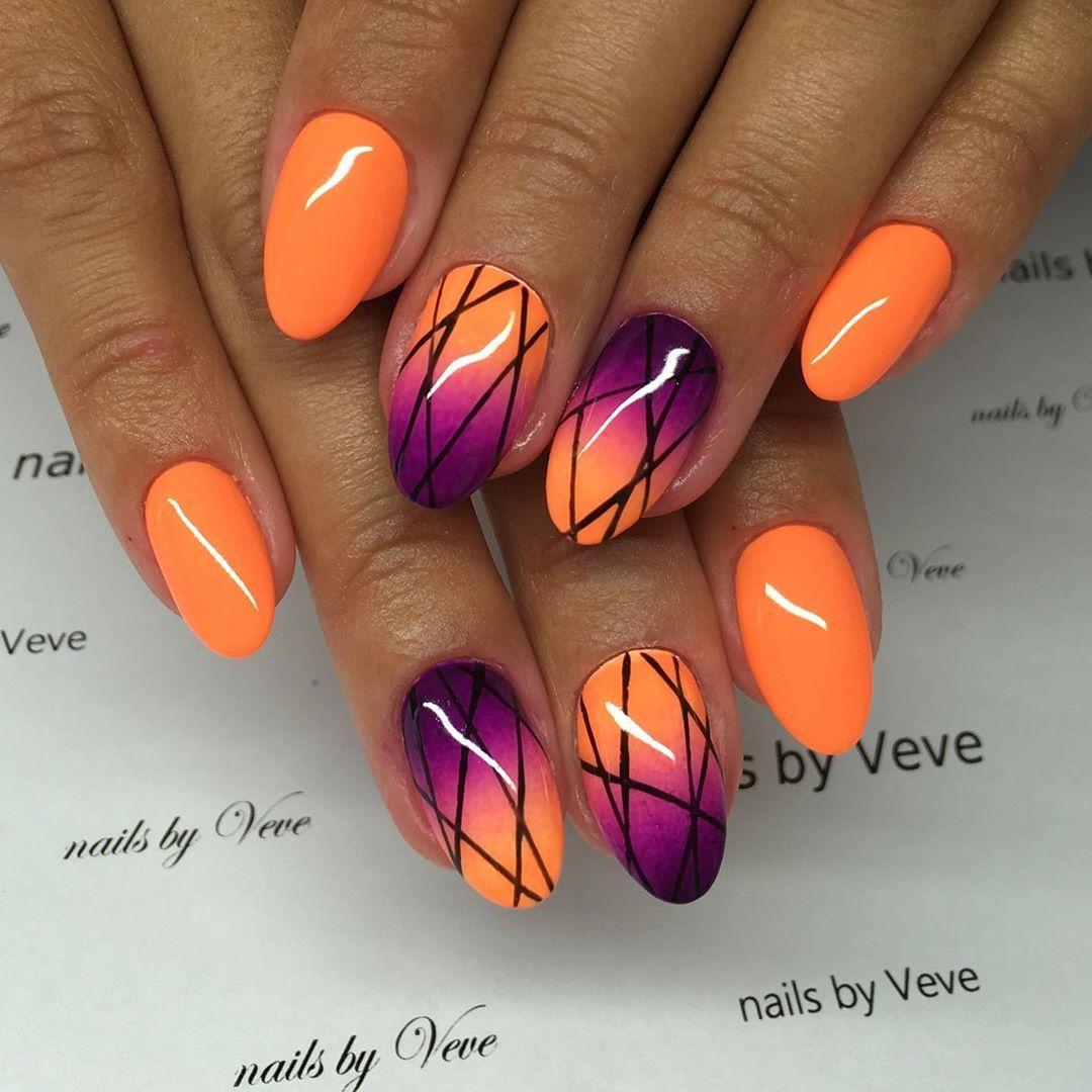 59 Pretty Orange Nail Art Designs Orange Nail Art Orange Nails Orange Nail Designs