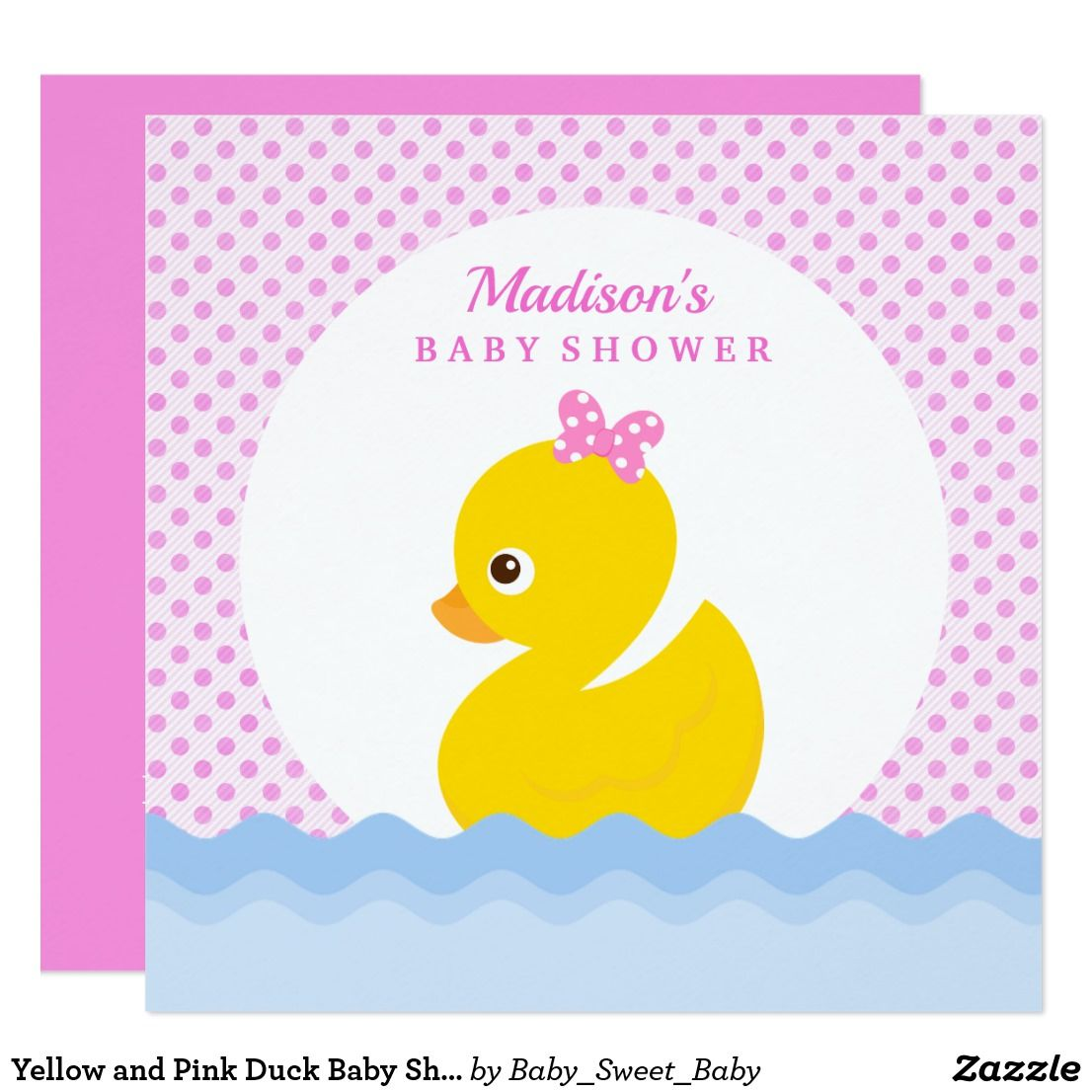 Yellow and Pink Duck Baby Shower Invitation | Duck baby showers and ...