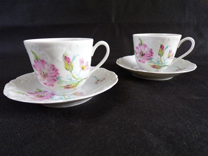 pair of retro cups tharaud limoges shabby chic porcelain dishes vintage deco elegance of vintage. Black Bedroom Furniture Sets. Home Design Ideas