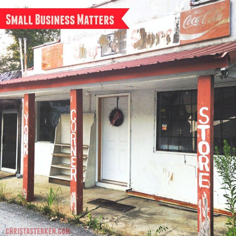 Small Business Matters -Do you ever drive by abandoned and shut down businesses? Usually mom and pop joints in small towns? Those small businesses matter to community www.christasterken.com