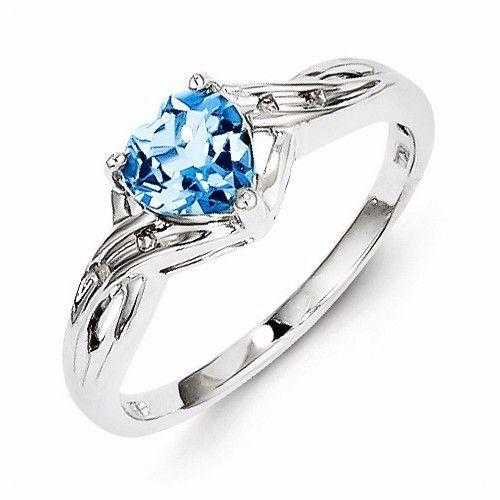 Sterling Silver Diamond Light Swiss Blue Topaz Heart Ring Blue