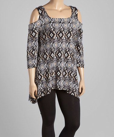 This Black & Tan Ikat Cutout Tunic - Plus is perfect! #zulilyfinds