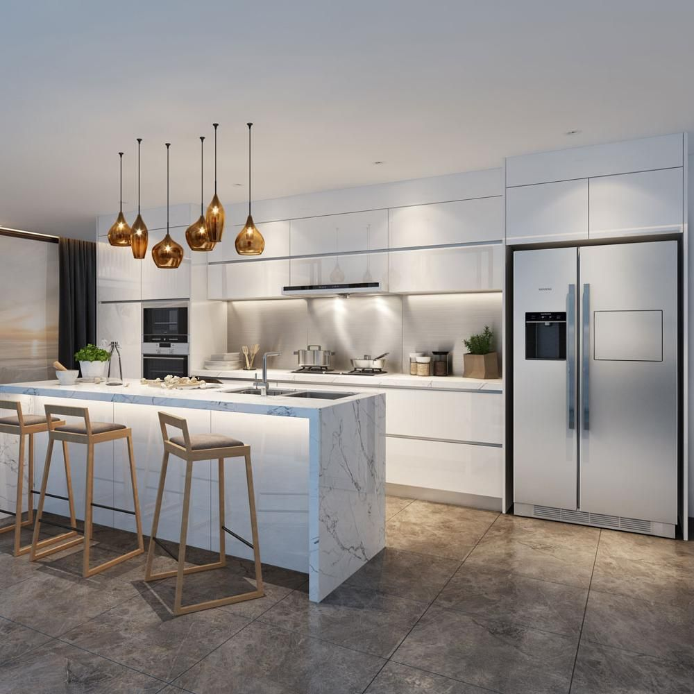 Love Waterfall Island White Cabinets Lighting In 2020 Modern Kitchen Design Kitchen Design Modern White Modern Kitchen