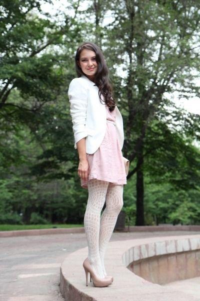 Light-pink-search-dress-white-zara-blazer-white-asos-tights ...