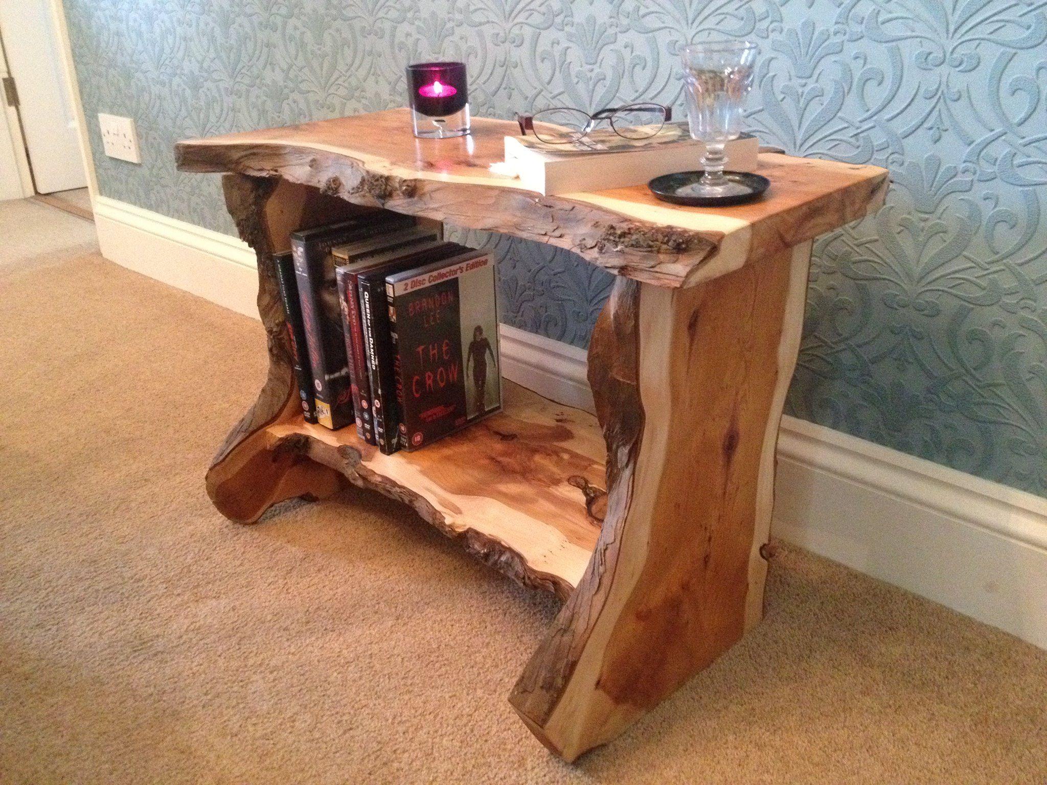 Rustic hand made live edge english yew bark wood coffee table side