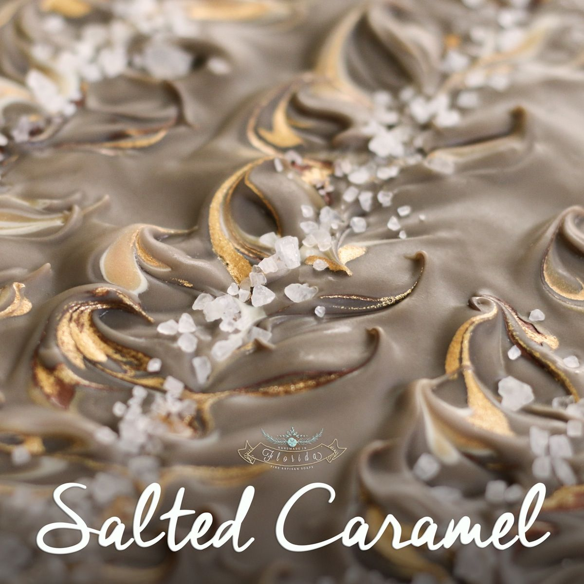 Rich and creamy caramel with a sprinkling of European sea salt...yummm More than just a pretty bar, our cold process soaps are made-from-scratch us...