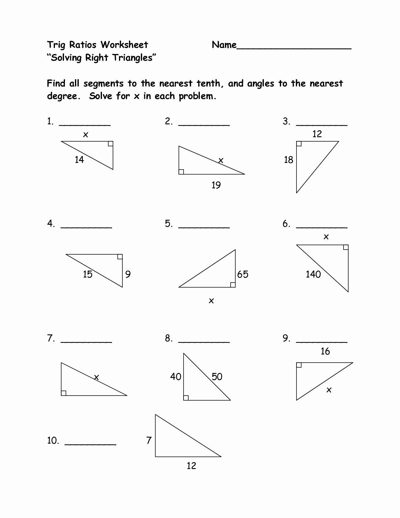 Right Triangle Trigonometry Worksheet Unique Trigonometry