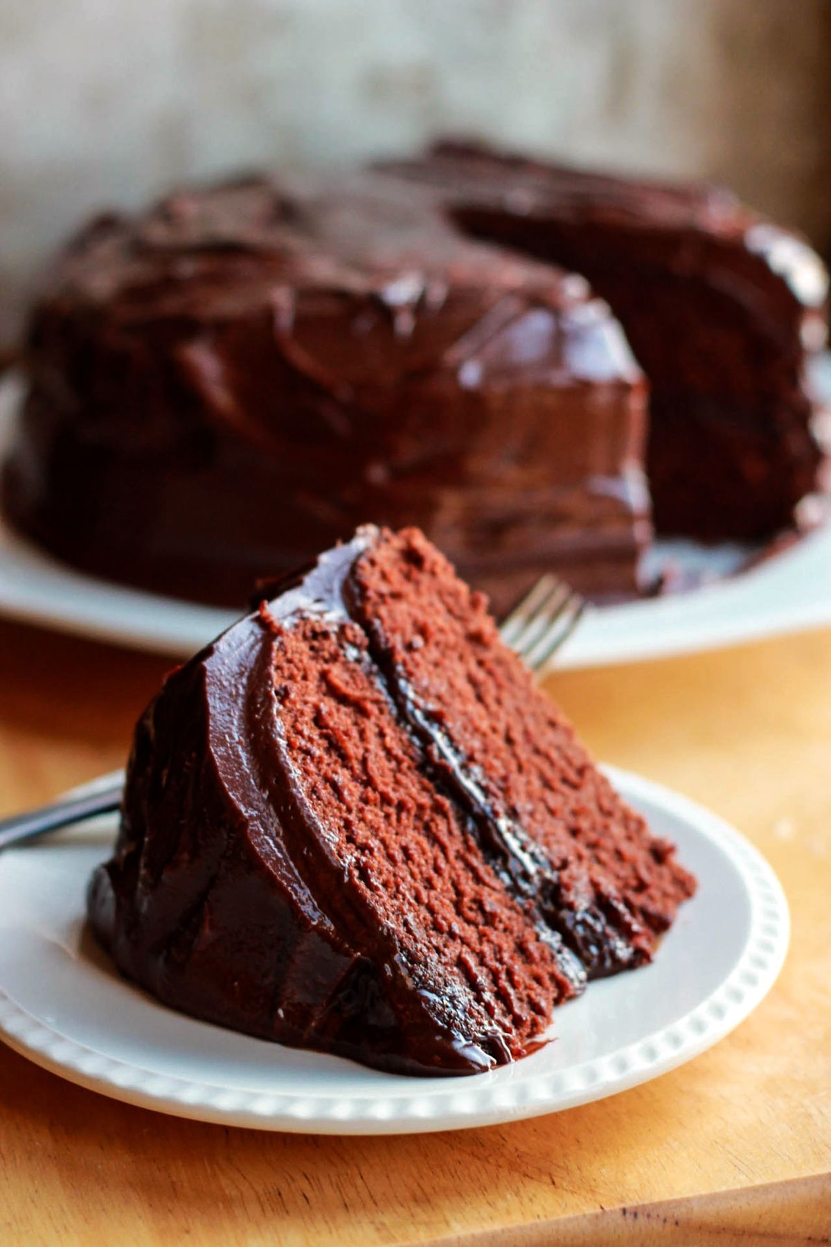 Classic devils food cake with ganache frosting recipe