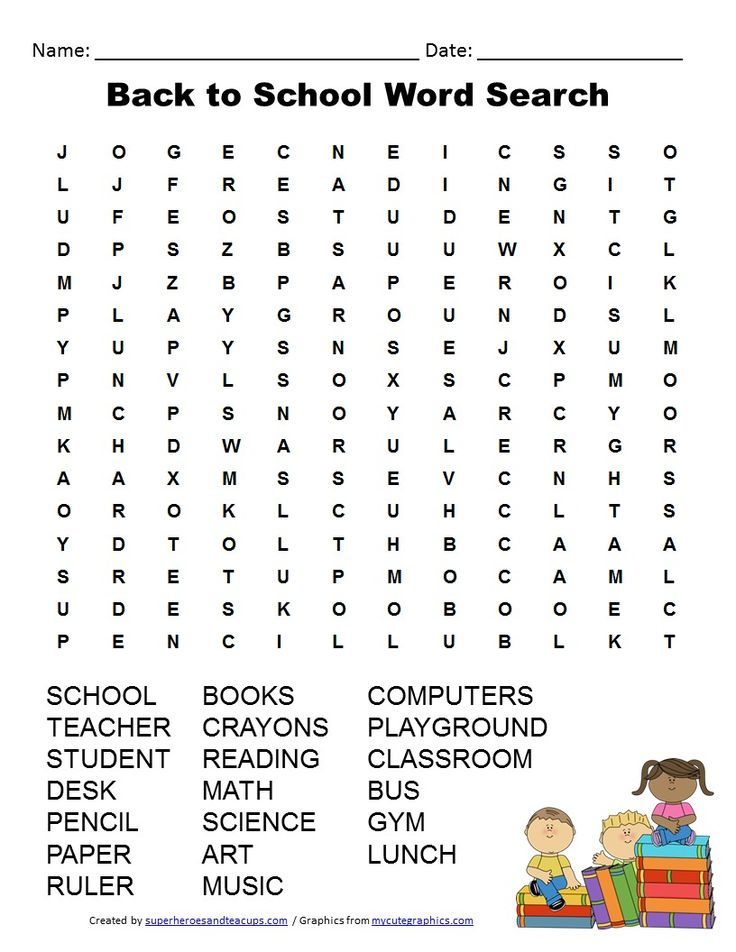 Back to School Word Search Free Printable for Kids | Word search ...
