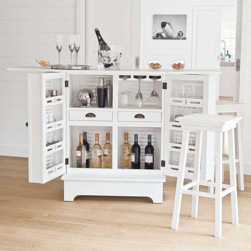 Mueble bar de madera blanco an 80 cm bar bar for Mueble bar madera