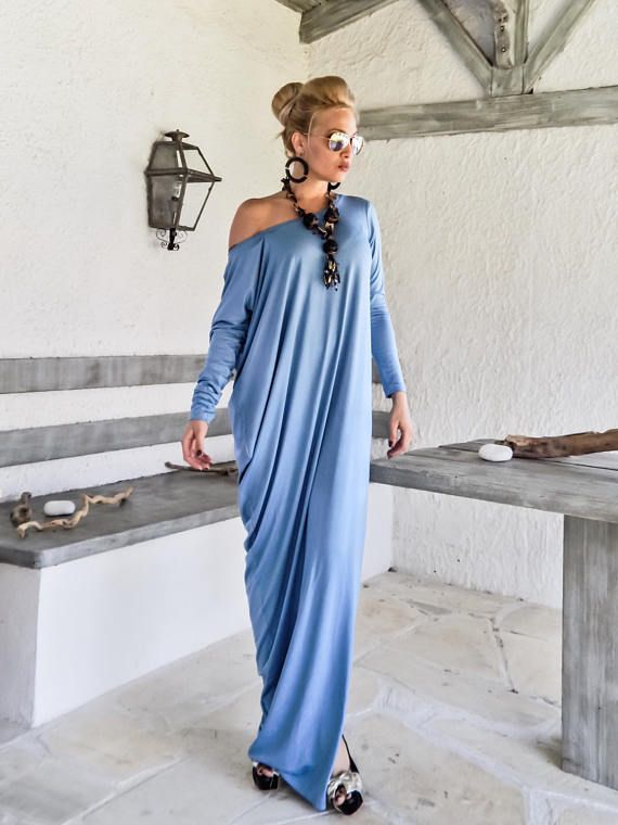 Sky Blue Asymmetric Maxi Dress / Sky Blue Kaftan / Asymmetric Plus Size Dress / Oversize Loose Dress / #35207