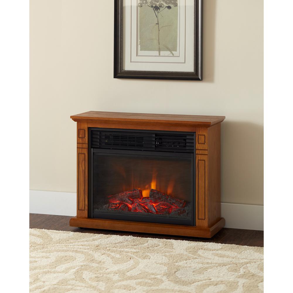 Hampton Bay Cedarstone 29 In 3 Element Mantel Infrared Electric Fireplace In Oak Brown Electric Fireplace Infrared Fireplace Fireplace Heater