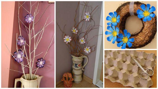 Flores Decorativos Con Cartones De Huevo Para Ponerlos En Jarrones Solountip Com Cartones De Huevos Manualidades Centros De Mesa De árboles