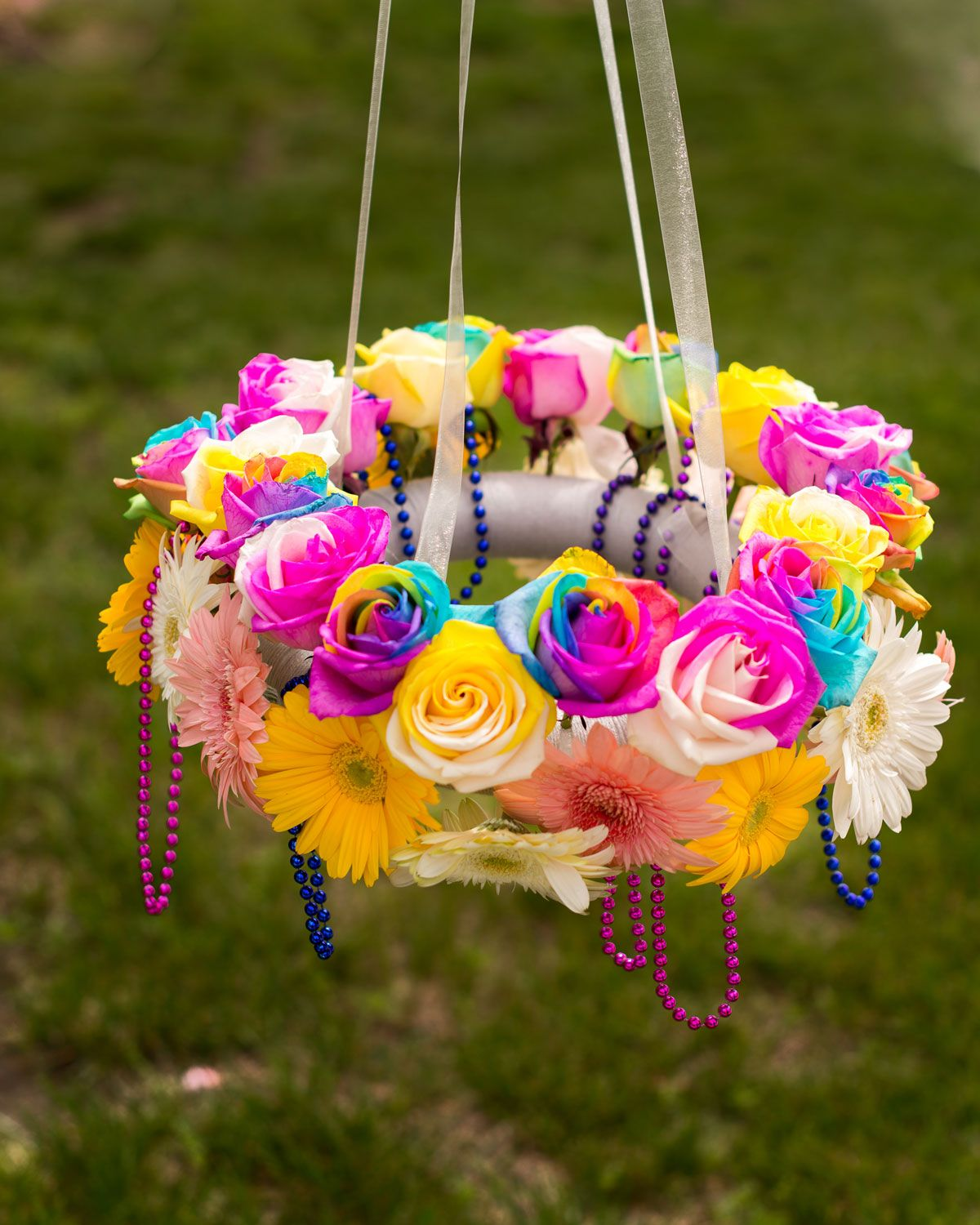 Diy flower chandelier outdoors partayyyyy pinterest flower diy flower chandelier outdoors arubaitofo Image collections